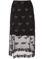 Fleur Du Mal Sheer Embroidered Skirt Black