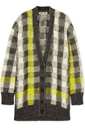 Mcq By Alexander Mcqueen Checked Knitted Cardigan Gray