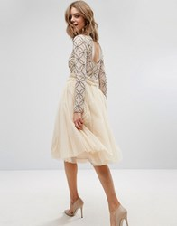 Lace And Beads Tulle Skirt With Gathered Waist Detail Cream