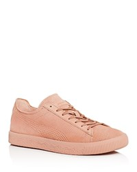 Puma X Stampd Men's Clyde Perforated Lace Up Sneakers Cameo Pink