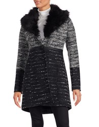 Catherine Malandrino Faux Fur Accented Knit Coat