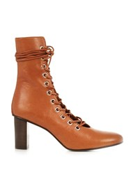 Marques Almeida Lace Up Leather Ankle Boots Brown