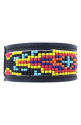 Men's Will Leather Goods Beaded Cuff Bracelet Black