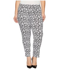 Krazy Larry Plus Size Pull On Ankle Pants White Black Circles Print Women's Dress Pants Gray