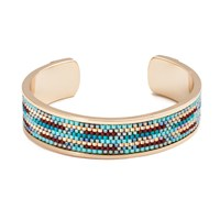 Azuni London Nacona Wide Bangle In Spirit Gold
