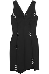 Thierry Mugler Embellished Stretch Wool Mini Dress Black