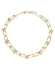 Temple St. Clair Lotus Diamond Blue Moonstone And 18K Yellow Gold Necklace