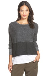 Eileen Fisher Cashmere Colorblock Bateau Neck Boxy Sweater Charcoal