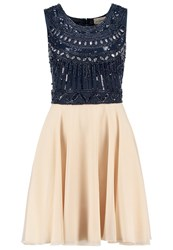 Lace And Beads Becker Cocktail Dress Party Dress Navy Cream Dark Blue