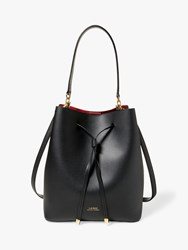 Ralph Lauren Dryden Debby Leather Medium Bucket Bag Black Red