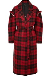 Mother Of Pearl Webb Belted Faux Embellished Checked Wool Coat Red