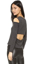 Monrow Open Back Cutout Tee Black