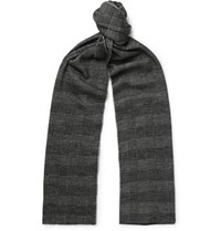 Brioni Checked Virgin Wool And Silk Blend Scarf Gray
