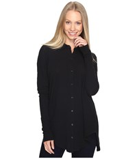 Mod O Doc Textured Slub Stripe Back Crossover Button Front Shirt Black Women's Clothing