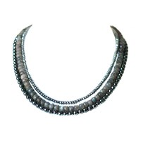 Dripping In Gems Three Strand Collar Necklace Silver