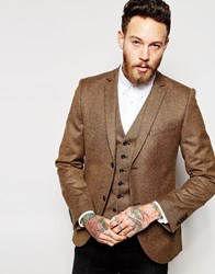 Heart And Dagger Tweed Blazer In Skinny Fit Brown