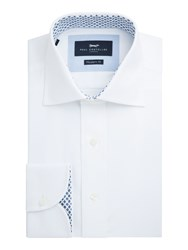 Paul Costelloe Men's Dawes Diamond Weave Jacquard Shirt White
