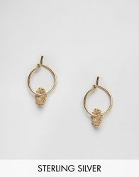 Asos Gold Plated Sterling Silver 10Mm Fine Filigree Hoop Earrings Gold Plated