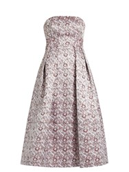 Erdem Alina Strapless Satin Jacquard Dress Pink Multi