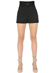 Red Valentino Stretch Wool Belted Shorts
