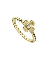 Lagos 18K Caviar Gold Diamond Flower Stack Ring