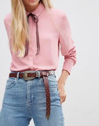Asos Studded Boyfriend End Western Waist And Hip Belt Red