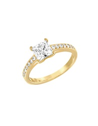 Swarovski Attract Princess Cut Cubic Zirconia And Crystal Ring Gold