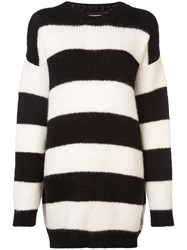Dsquared2 Oversized Knitted Striped Sweater Black