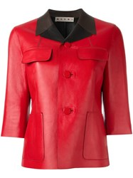 Marni Contrast Collar Leather Jacket Red