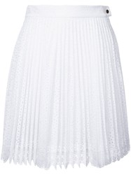 Antonio Berardi Pleated Lace Skirt White