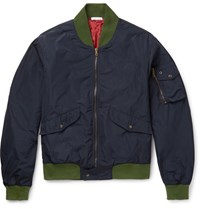 Tomas Maier Contrast Trimmed Shell Bomber Jacket Navy