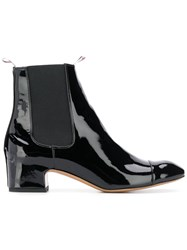 Thom Browne Block Heel Patent Leather Chelsea Boot Black