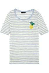 J.Crew Embroidered Striped Merino Wool T Shirt Sky Blue