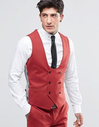 Noose And Monkey Super Skinny Db Waistcoat With Stretch Raspberry Red