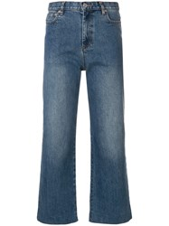 A.P.C. Cropped Straight Leg Jeans Blue