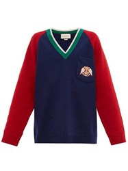 Gucci Crest Patch Wool Sweater Red Navy