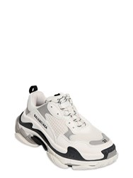 Balenciaga Triple S Faux Leather And Mesh Sneakers White