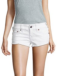 True Religion Frayed Denim Shorts White