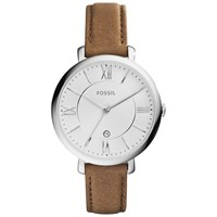 Fossil Women's Jacqueline Leather Strap Watch Brown White