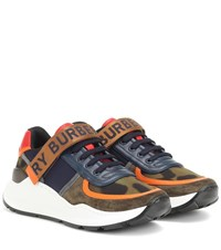 Burberry Ronnie Leather Trimmed Sneakers Multicoloured
