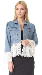 Sea Eyelet Layered Denim Jacket White