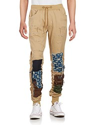 American Stitch Distressed Patchwork Jogger Pants Khaki