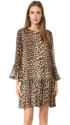 Ganni Leopard Flounce Dress