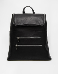 Asos Chunky Zip Backpack With Zip Pocket Black