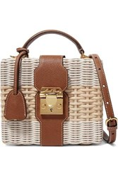 Mark Cross Harley Textured Leather Trimmed Two Tone Rattan Shoulder Bag Off White
