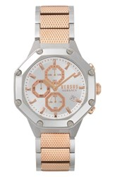 Versus By Versace Kowloon Chronograph Bracelet Watch 45Mm Rose Gold White Silver