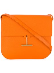 Tom Ford T Buckle Shoulder Bag Bos Taurus Cotton Polyester Yellow Orange
