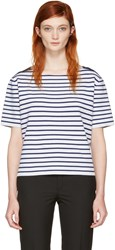 Burberry Navy And White Striped Riverpaiave T Shirt