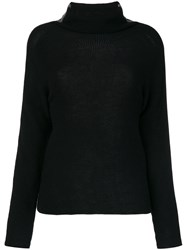 Jo No Fui Tubular Neck Sweater Polyester Cashmere Wool L Black