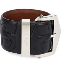 Givenchy Star Embossed Leather Belt Blk Silver